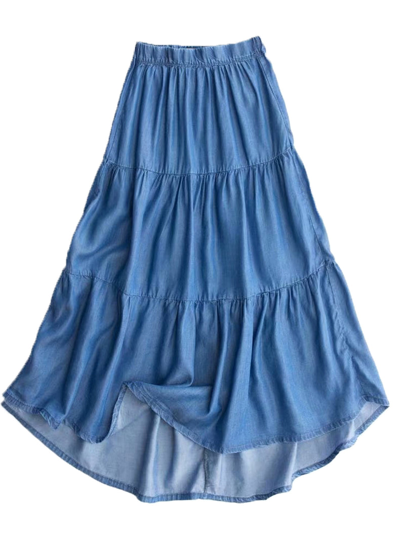 'Natalie' Chambray' Full Long Skirt (2 Colors)