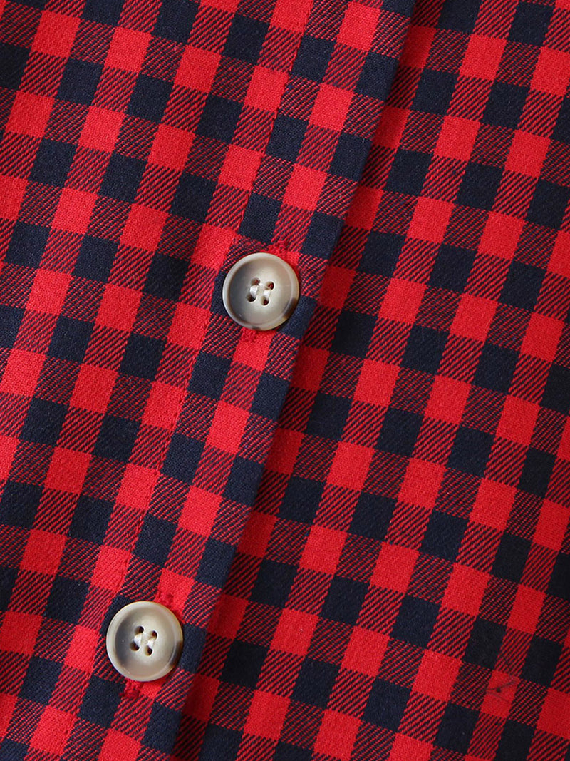 'Elsie' Black and Red Checked Mini Shirt Dress