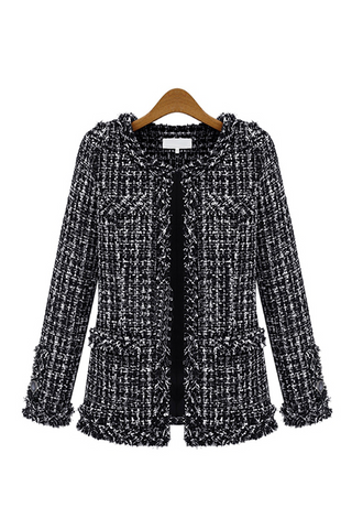 Black Tweed Structured Jacket - Goodnight Macaroon