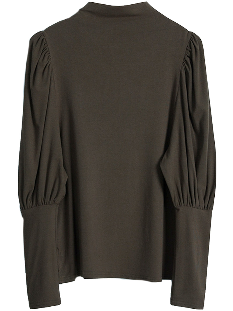 'Olivia' Mock Neck Puff Sleeves Top (4 Colors)