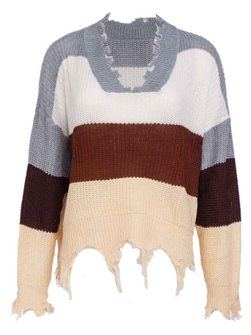 'Hollie' Colorblock V-Neck Distressed Cropped Sweater (3 Colors)