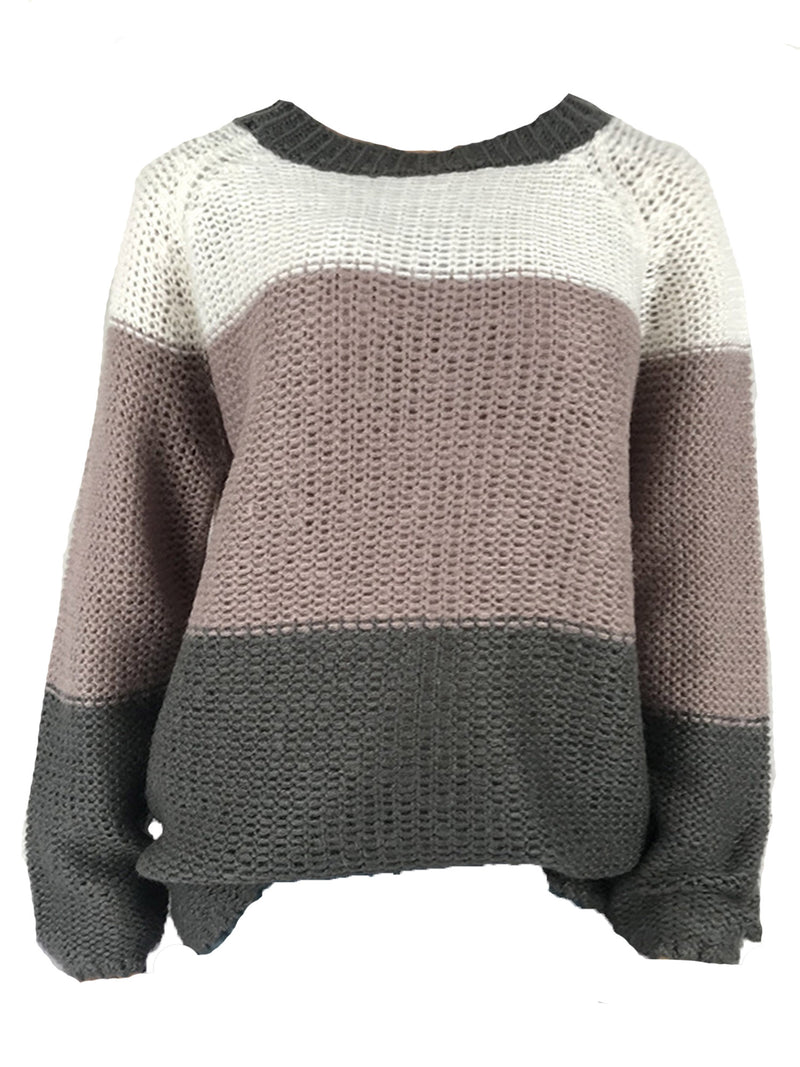 'Eliza' Colorblock Crewneck Sweater (4 Colors)