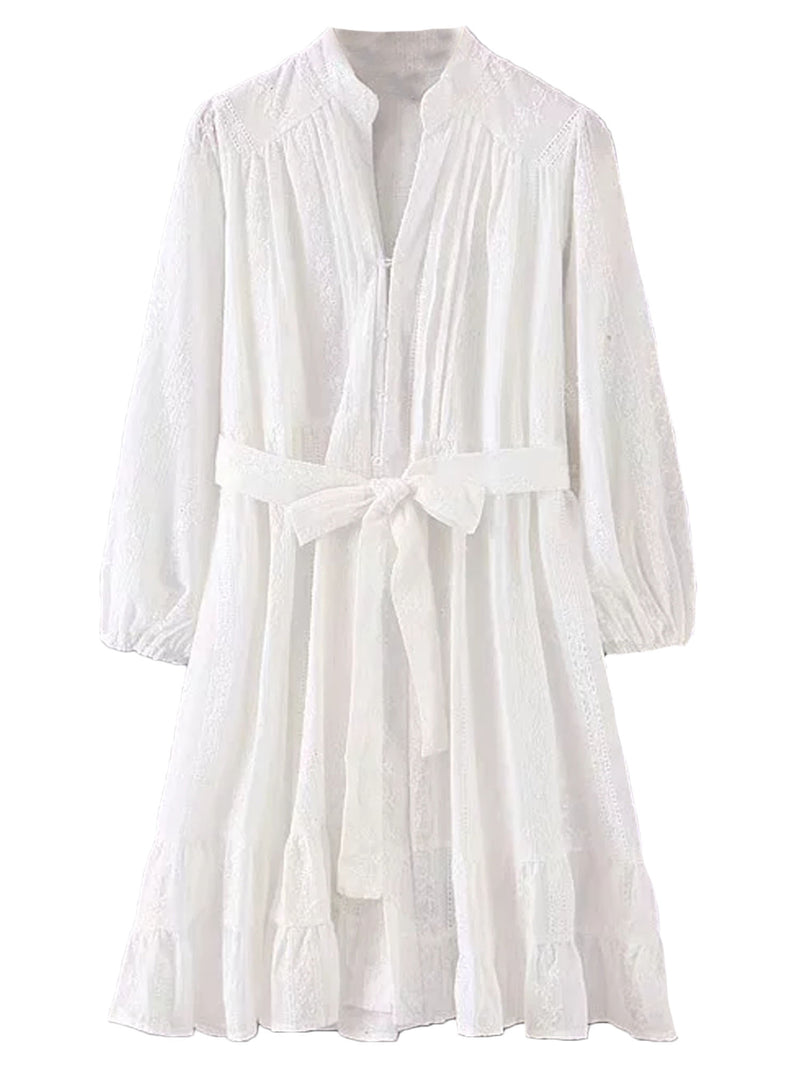 'Ivy' Cotton Embroidered White Lace Dress with Waist Tie