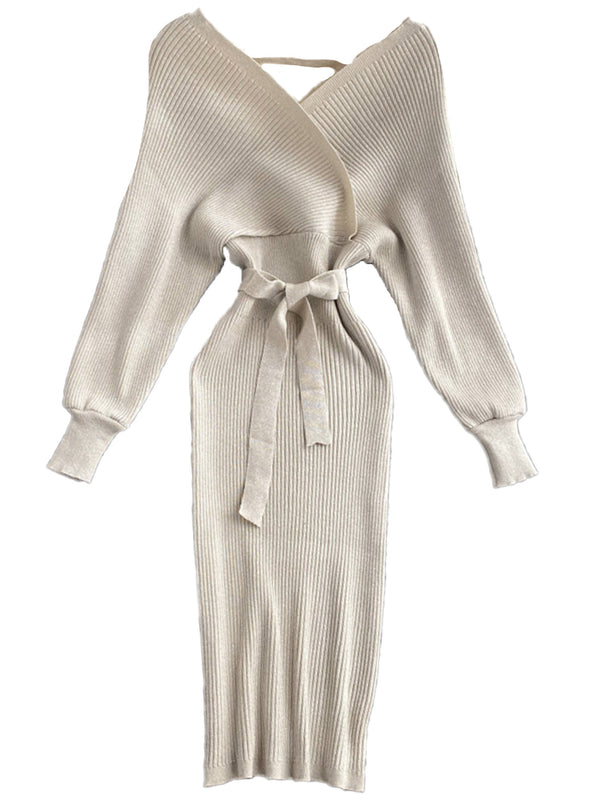 'Nancy' Shimmery Batwing Ribbed Knitted Midi Dress with Belt (8 Colors)