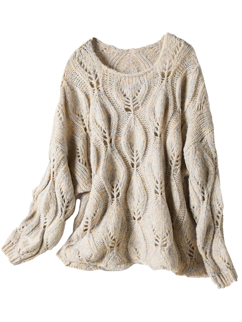 'Eliana' Round Neck Pattern Knit Sweater (3 Colors)