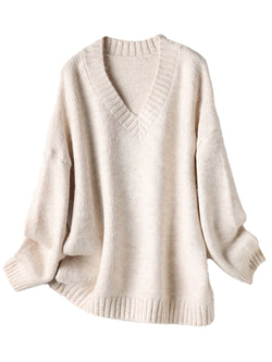 'Mila' V Neck Basic Long Sleeves Sweater (4 Colors)