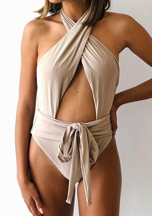 'Irena' Cross Front Tie Neck Open Back Swim Suit (2 Colors)