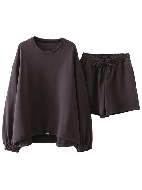 'Salem' Sweatshirt with Tie Bottom & Shorts Set (2 Colors)