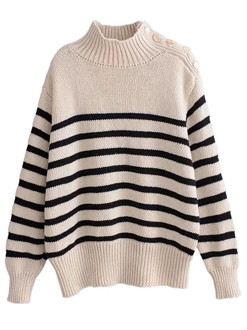 'Anna' Striped Mock Neck Buttoned Shoulder Sweater