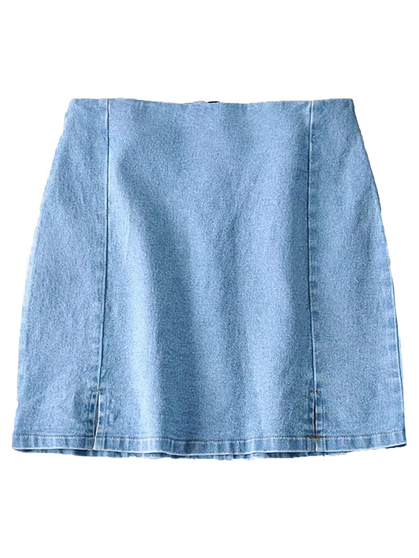 'Shiloh' Denim Tight Mini Skirt with Slit (2 Colors)