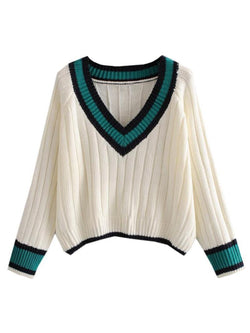 'Destiny' V-Neck Varsity Knitted Sweater