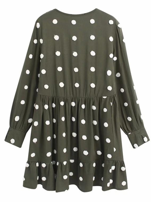 'Holly' Dotted V Neck Mini Dress