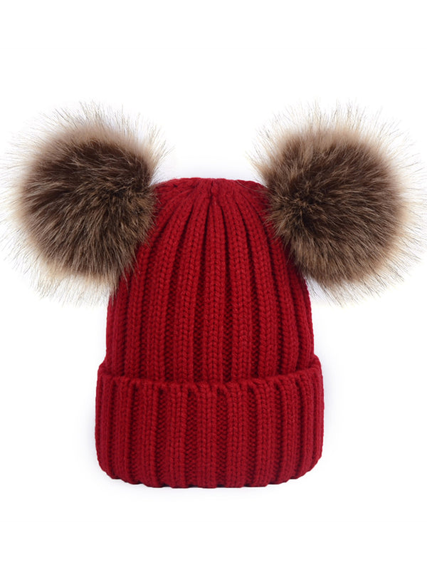 'Emery' Red Ribbed Knit Pom Pom Beanie