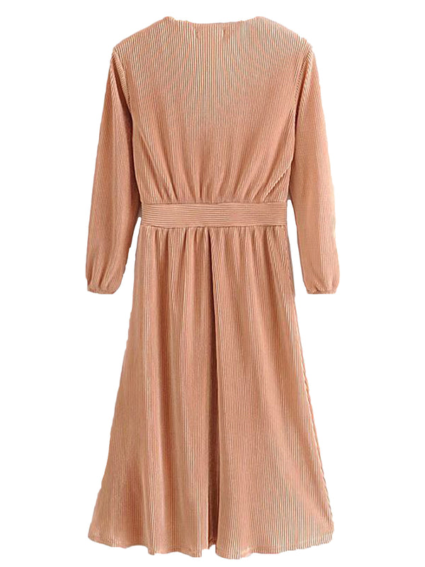 'Cayla' Wrap Top Pleated Midi Dress