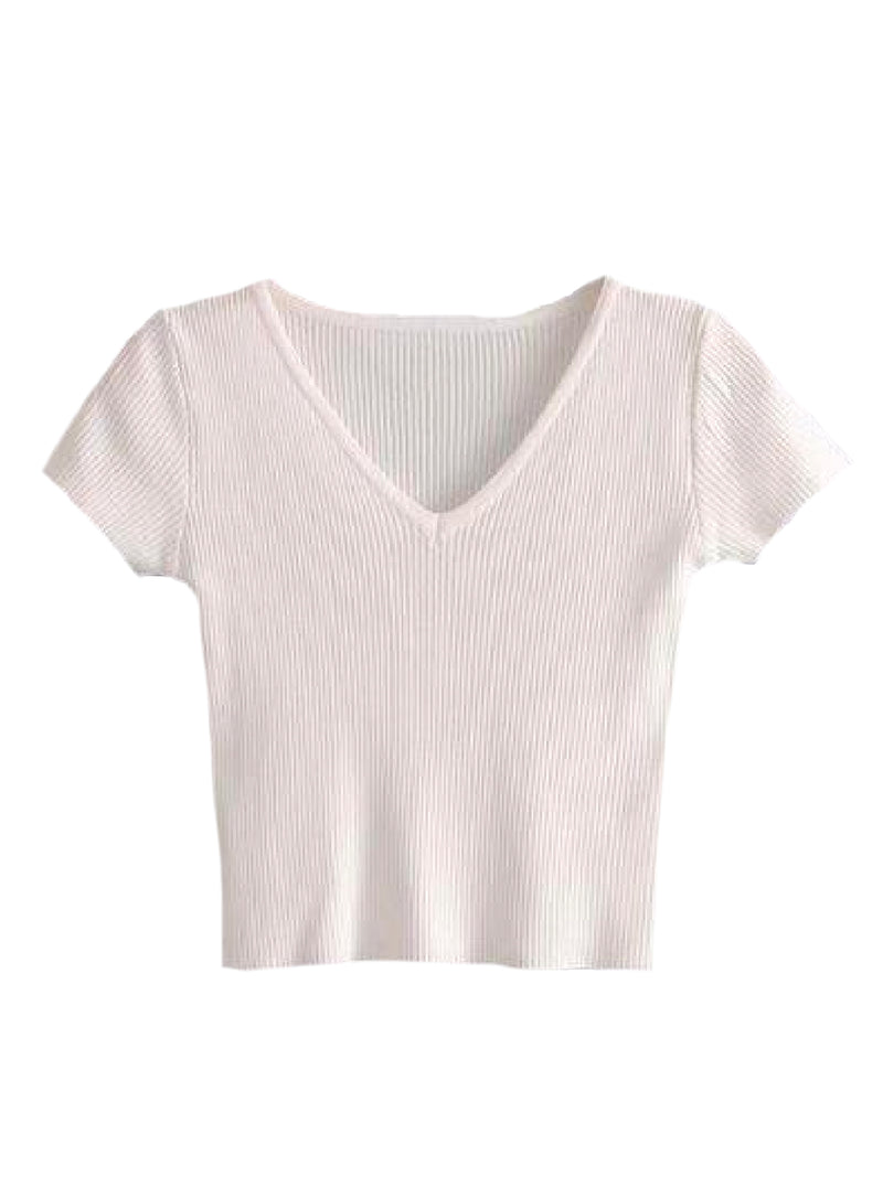 'Elaina' Ribbed V-Neck Cropped Top