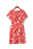 'Ellery' Red Palm Tree Printed Cut Out Shift Dress
