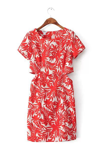 'Ellery' Red Palm Tree Printed Cut Out Shift Dress - Goodnight Macaroon