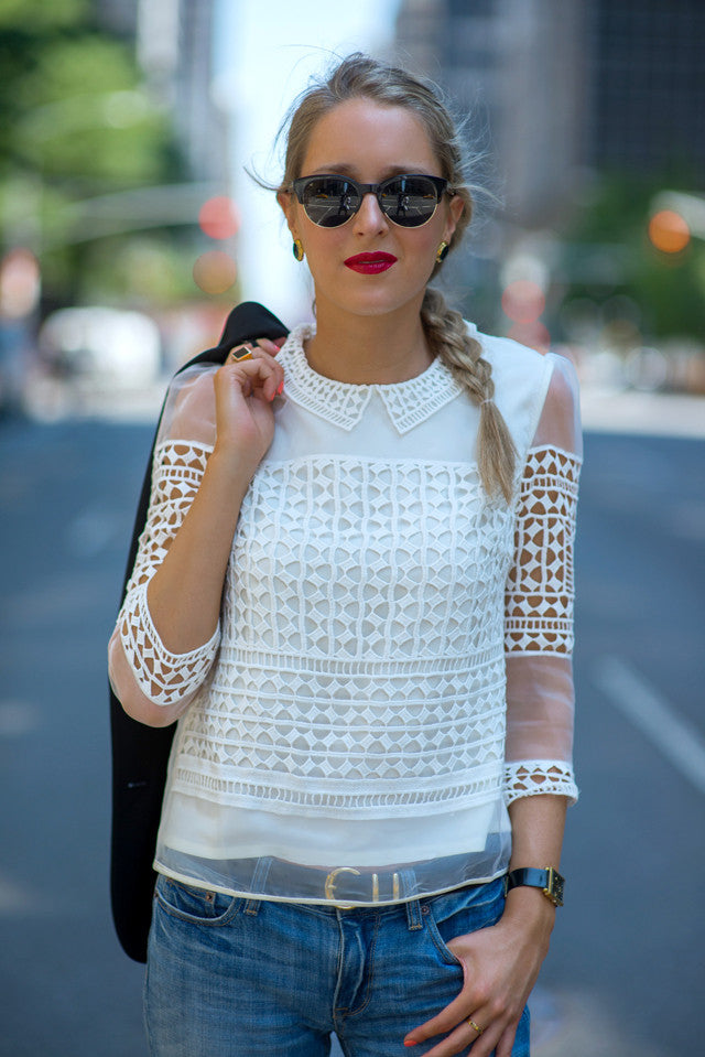 Peter Pan Collar Crochet Lace Mesh Sleeved Blouse