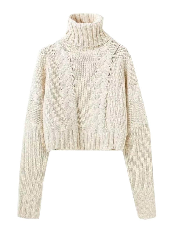 'Faye' Braided Knit Cropped Turtleneck Sweater