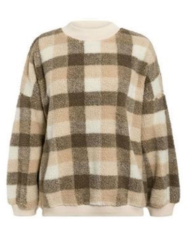 'Callie' Checked Fleece Crewneck Sweater (2 Colors)