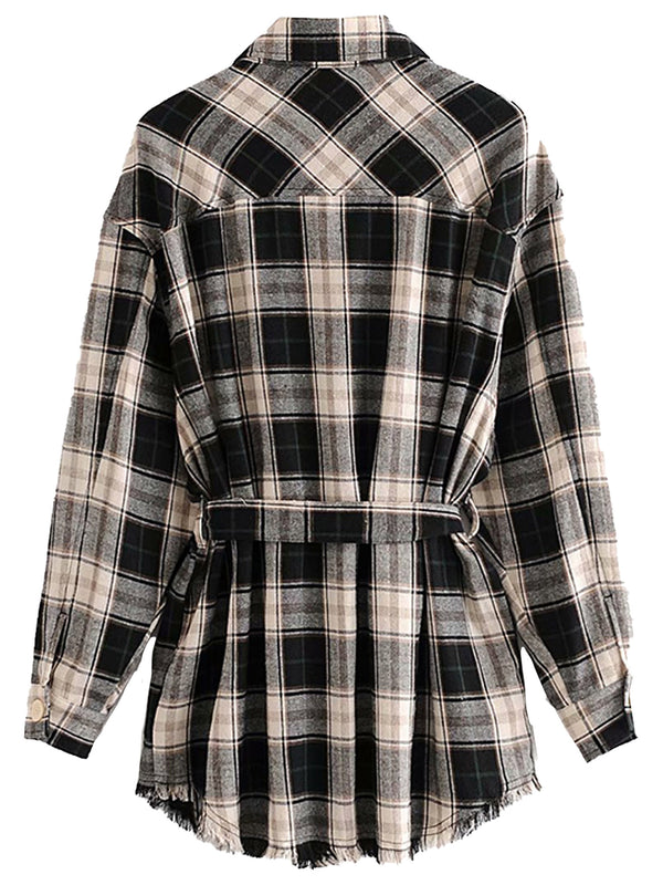 'Nadine' Plaid Shirt with Waist Tie