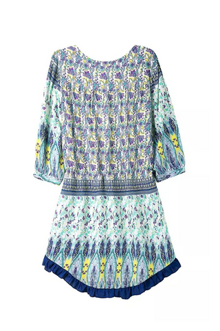 'Giselle' Blue Bohemian Print Mini Dress