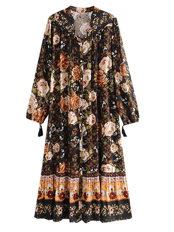 'Alicia' Vintage Floral Button Front Maxi Dress