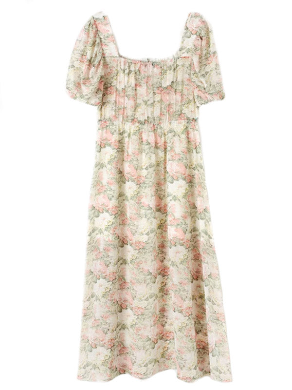 'Joyce' Square Neck Front Tied Soft Floral Midi Dress with Slit