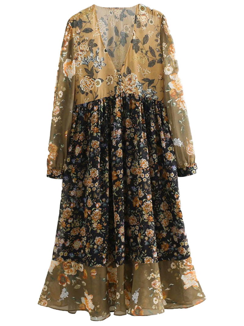 'Jayden' Fall Colors V-Neck Button Foral Maxi Dress