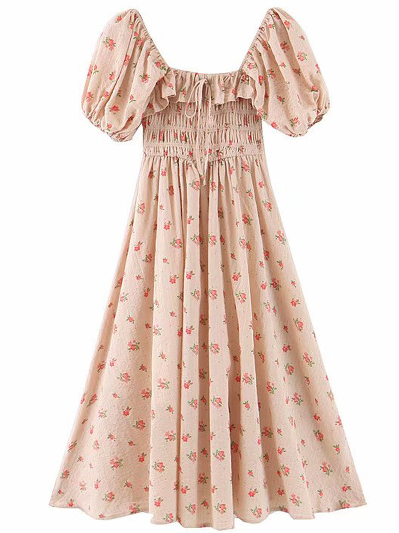 'Caitlin' Ruffle Top Ruched Floral Maxi Dress