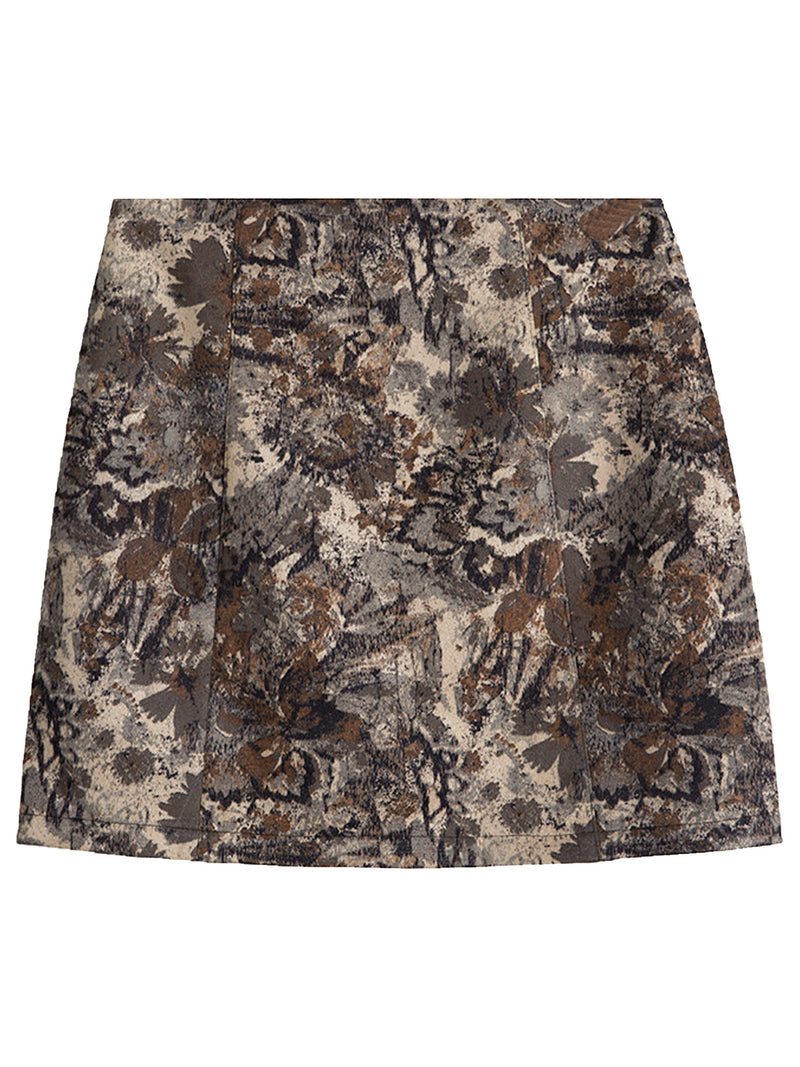 'Evelyn' Vintage Floral Thick Mini Skirt (2 Colors)