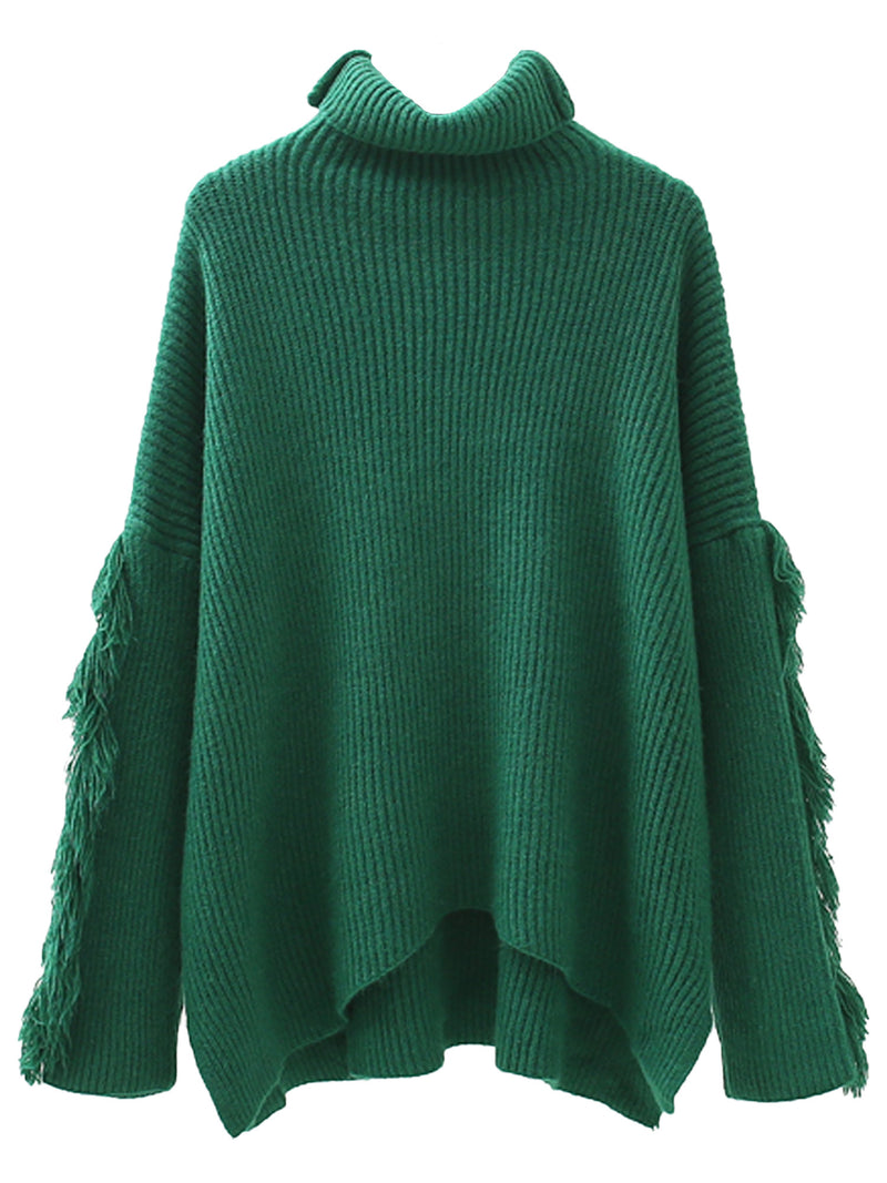 'Lily' Roll Neck Ribbed Fringe Sleeve Sweater (3 Colors)