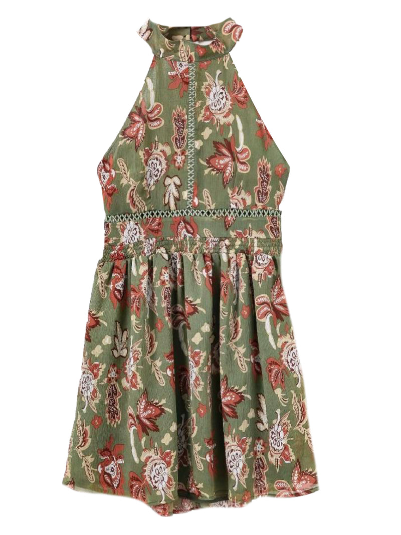 Goodnight Macaroon 'Rhonda' Halter Neck Green Floral Midi Dress Green Front