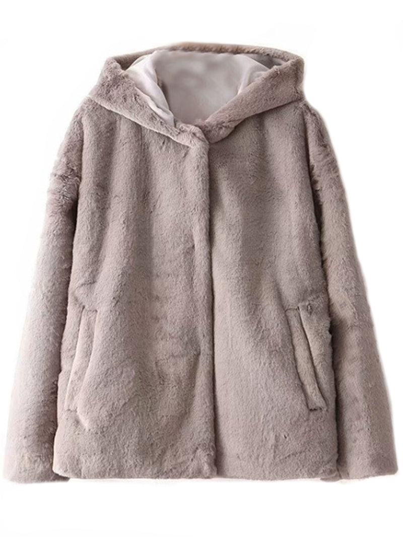 'Ali' Soft Faux Fur Hooded Coat (2 Colors)