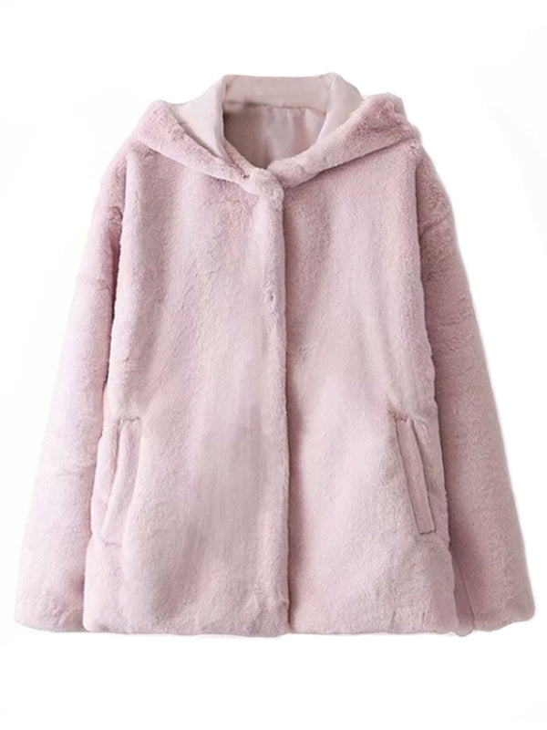 'Ali' Soft Fur Hooded Coat (2 Colors)