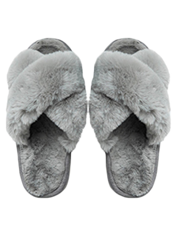 'Raegan' Faux Fur Criss Cross Slippers (3 Colors)