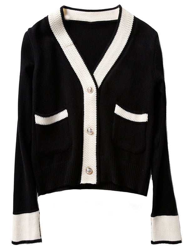 'Gabrielle' Contrast Trim Button Cardigan with Pockets (3 Colors)
