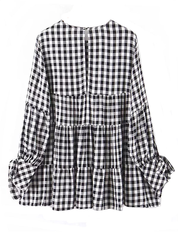 'Flora' Gingham Dolly Long Blouse