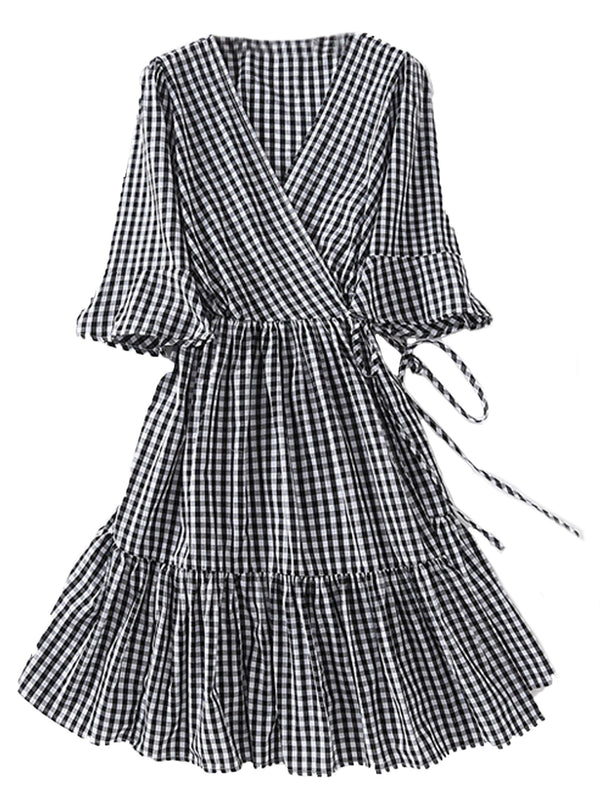 'Savannah' Gingham Wrap Dress (2 Colors)