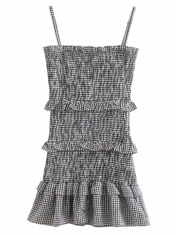 'Luna' Gingham Ruched Ruffle Mini Dress