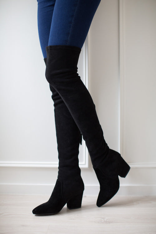 'Ellis' Black Classic Over The Knee Suede Leather Boots