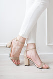 'Isa' Nude Suede Leather Sandals