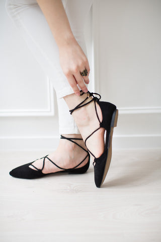 'Vortex' Minimalist Black Lace Up Suede Leather Flats