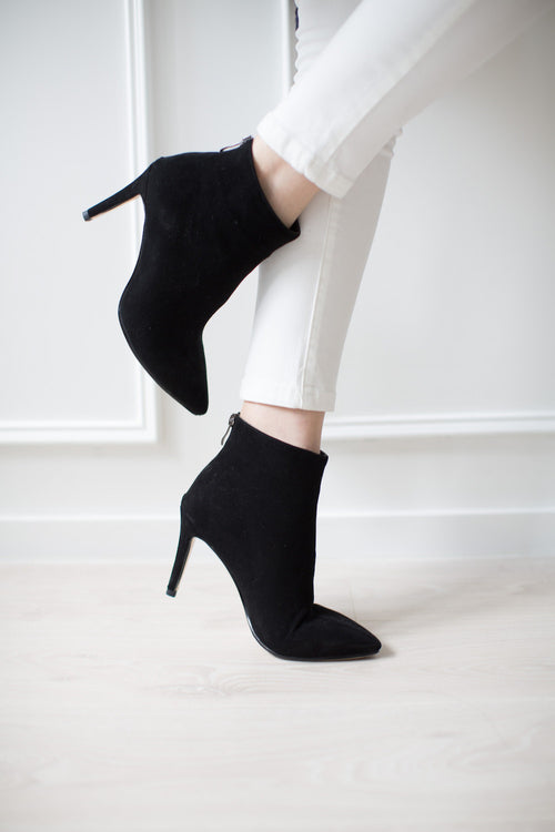 'Meredith' Black Suede Leather Stiletto Heel Ankle Boots