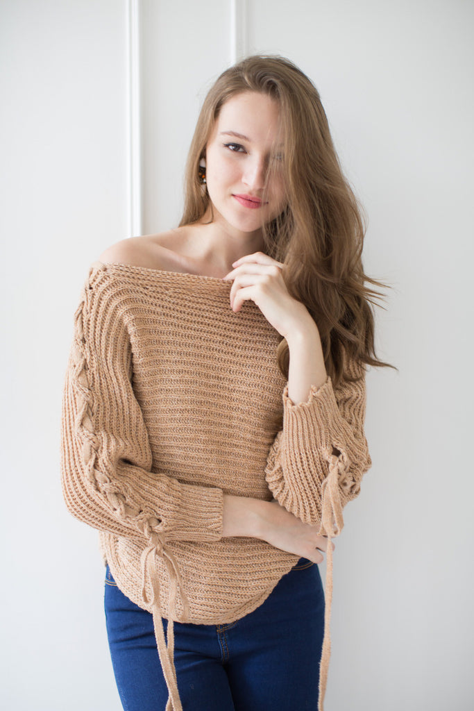 'Athena' Criss Cross Off the Shoulder Sweater