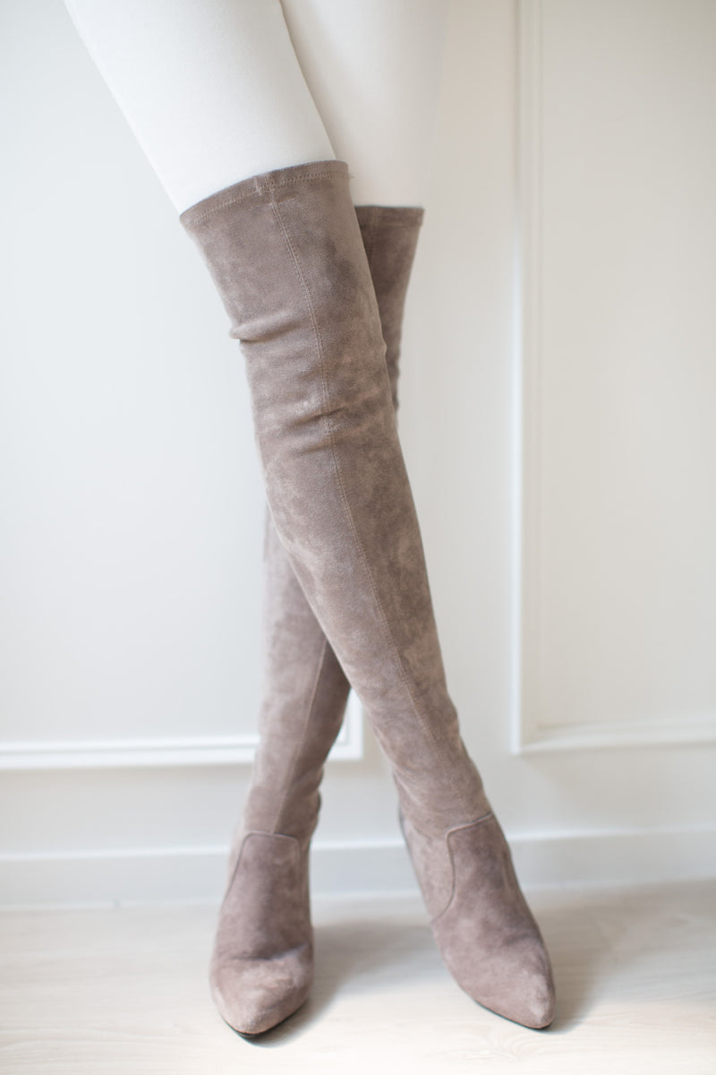 Goodnight Macaroon 'Carina' Taupe Suede Leather Over The Knee Boots Model Front