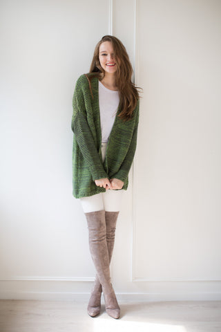 'Hailey' Green Marl Knit Cardigan