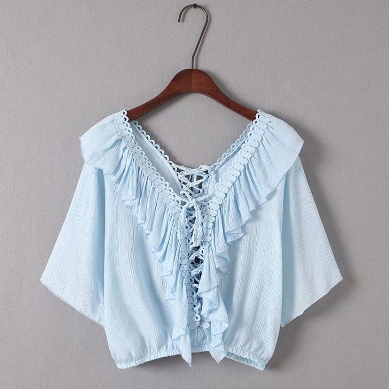 Goodnight Macaroon 'Irmgard' Lace-up Ruffle Top Blue Front