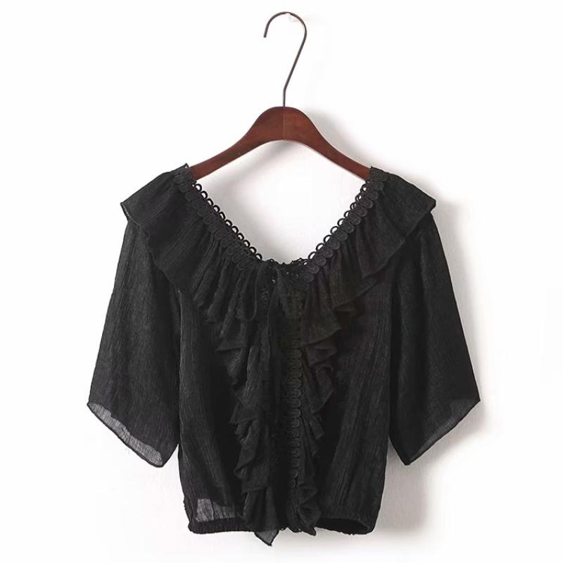 Goodnight Macaroon 'Irmgard' Lace-up Ruffle Top Black Front