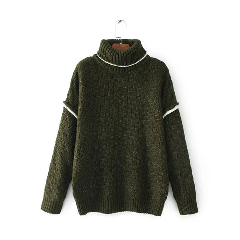 'Nancy' Turtleneck Basket Weave Sweater